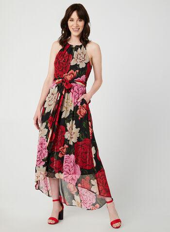 Floral Print Sleeveless Dress, Black, hi-res,  long dress
