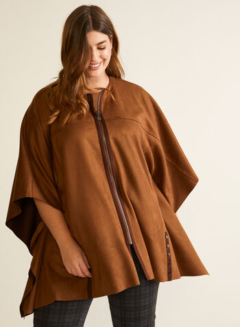 Zip Front Faux Suede Cape, Brown,  poncho, cape, zip front, faux suede, fall winter 2020