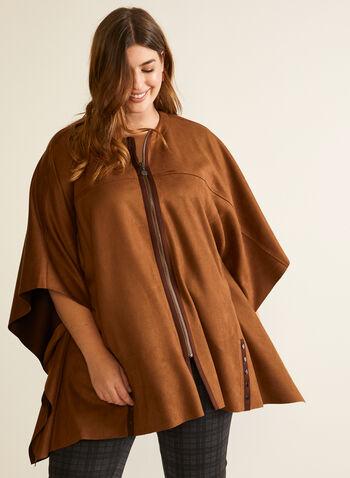 Cape zippée en faux suède , Brun,  automne hiver 2020, cape, poncho, suède, manteau, drapé