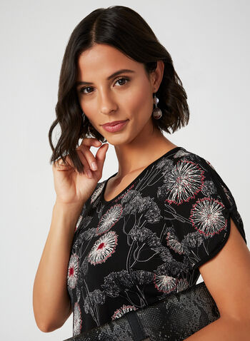 Short Sleeve Flower Print Top, Black, hi-res,  canada, v-neck, short sleeves, floral, print, flower print, bow, blouse, top, contrast, stretch, fall 2019, winter 2019