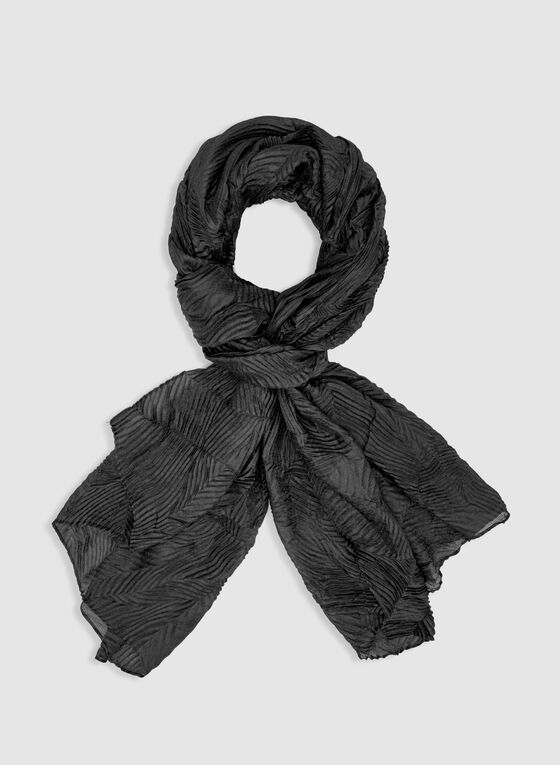 Pleated Lightweight Scarf, Black, hi-res