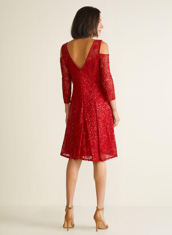 Marina - Robe en dentelle à épaules ajourées, Rouge