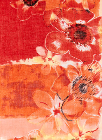 Bold Floral Print Scarf, Orange, hi-res
