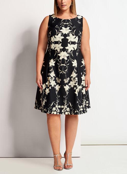 Floral Print Scuba Fit & Flare Dress, Black, hi-res