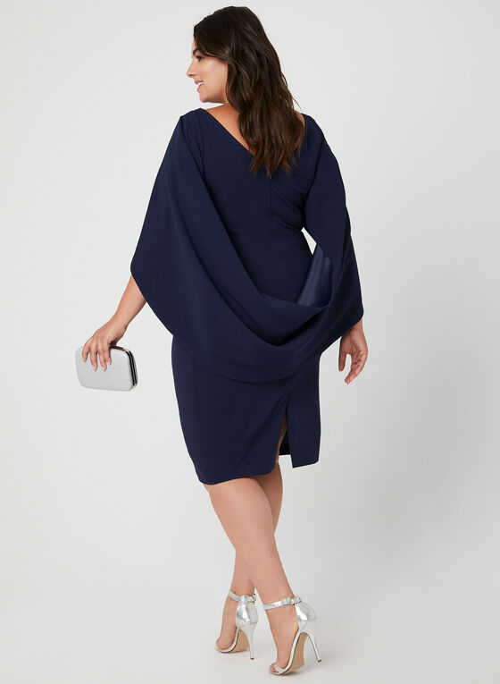 Robe à drapé style cape, Bleu, hi-res