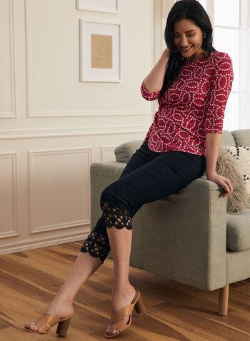 Crochet Detail Capri Pants, Blue,  pants, capri, pull-on, slim leg, crochet, stretchy, bengaline, spring summer 2020