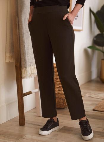 Pantalon jambe droite à enfiler, Vert,  automne hiver 2021, pantalon, modèle à enfiler, pantalon pull-on, jambe droite, taille haute, 2 poches avant, poches fendues, confortable, extensible, style jogging