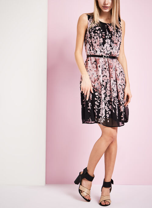Belted Floral Print Chiffon Dress, Red, hi-res