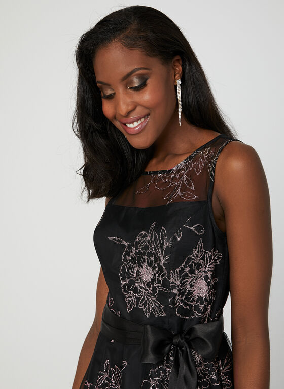 Floral Print Illusion Neck Dress, Black, hi-res