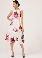 Floral Print Shantung Midi Dress, Pink, hi-res