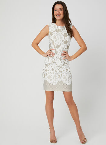 Floral Lace Print Dress, Off White, hi-res,  scuba, floral lace print, textured, shift, extended shoulder, exposed zipper, spring 2019