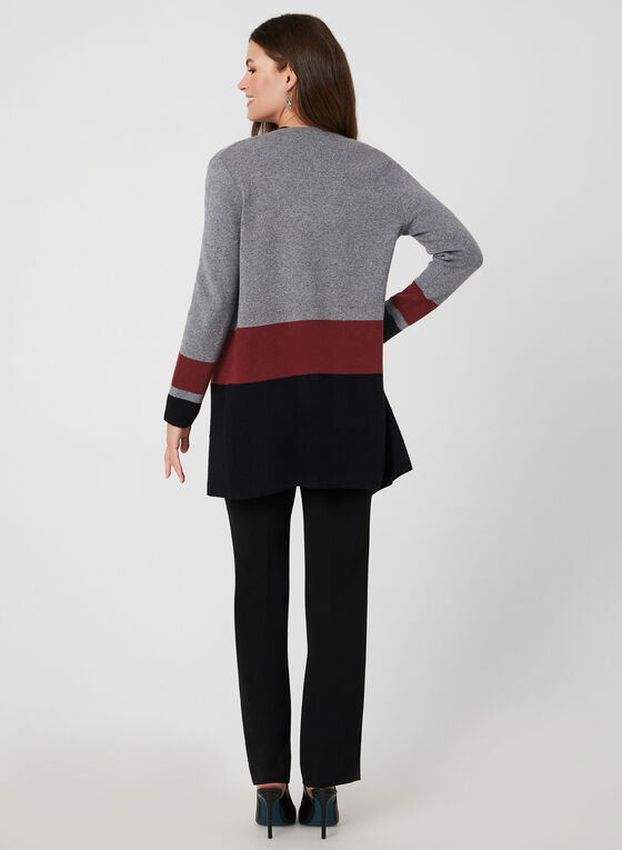Colour Block Knit Cardigan, Grey
