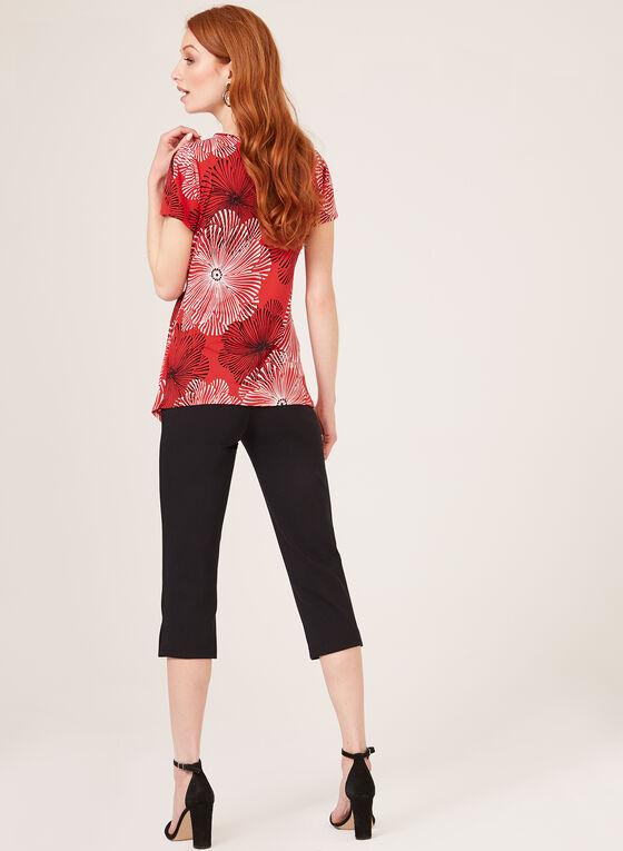Blouse florale asymétrique à manches fendues, Rouge, hi-res