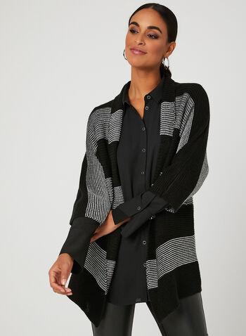 Dolman Sleeve Knit Cardigan, Black, hi-res
