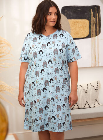 Robe de nuit à motif d'animaux, Bleu,  pyjama, robe de nuit, fait au canada, encolure V, manches courtes, boucle, motif, animaux, au genou, printemps été 2021