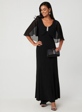 Chiffon Cape Dress, Black, hi-res,  fall winter 2019, jersey fabric, A-line, cape