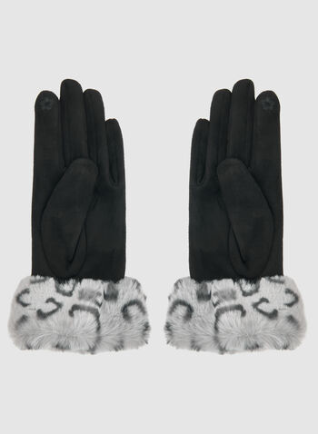Faux Suede Gloves, Black,  gloves, faux fur gloves, faux suede gloves, animal print, fall 2019, winter 2019