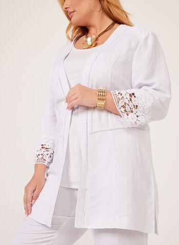 Linen Blend Duster, White, hi-res