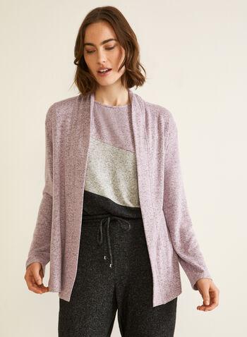 Veste ouverte en tricot , Violet,  veste ouverte, col châle, coupe ouverte, automne hiver 2020, manches longues, tricot chandail,