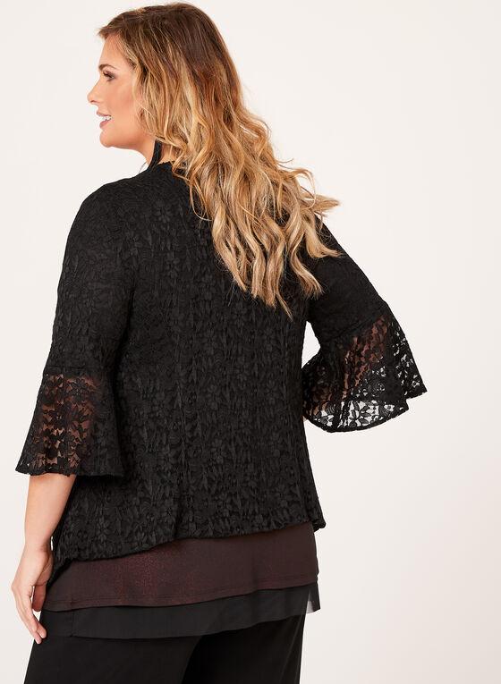 ¾ Sleeve Lace Jacket, Black, hi-res
