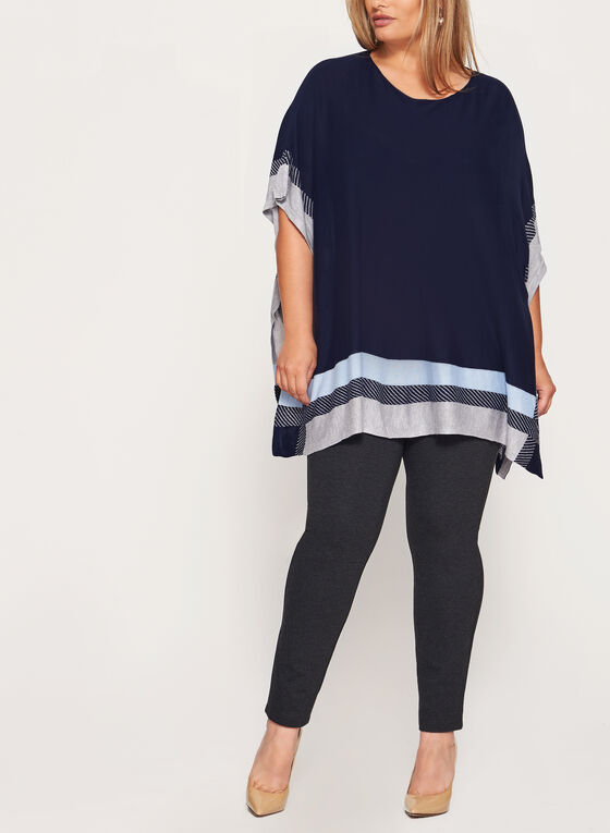 Lightweight Colour Block Poncho, Blue, hi-res