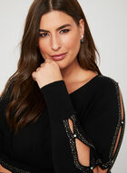 Embellished Dolman Sleeve Sweater, Black, hi-res