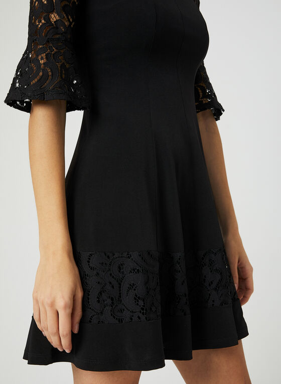 Fit & Flare Panelled Dress, Black, hi-res