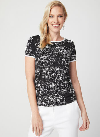Floral Print Short Sleeve Blouse, Black, hi-res