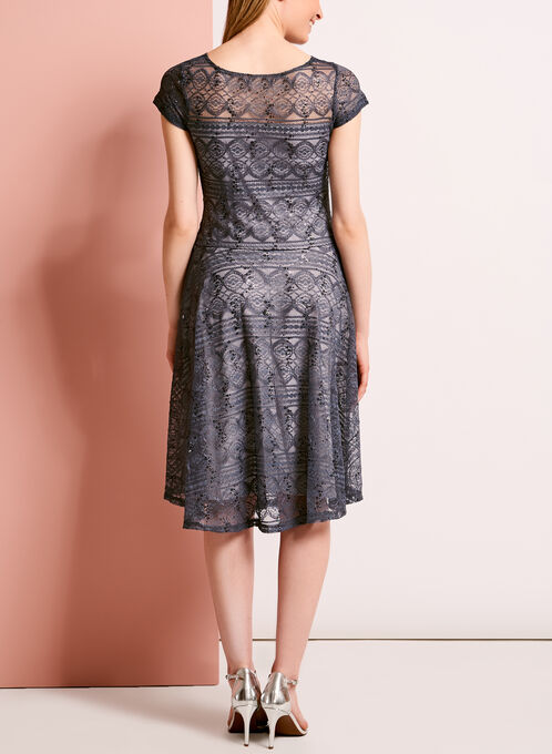 Sequined Lace Fit & Flare Dress, Grey, hi-res