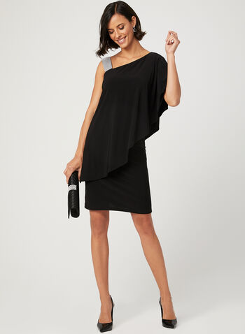 One Shoulder Jersey Dress, Black, hi-res