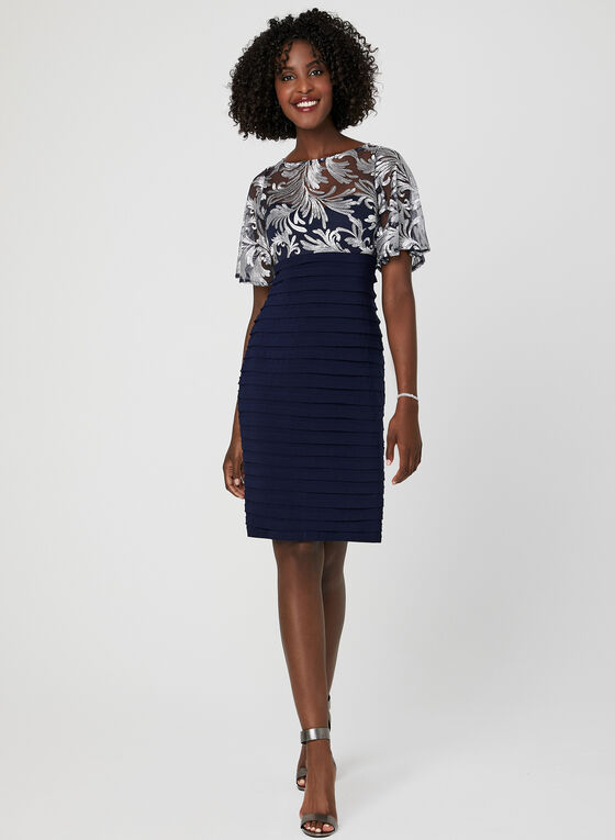 Embroidered Jersey Shutter Dress, Blue, hi-res