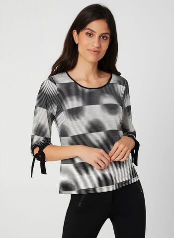Geometric Print ¾ Sleeve Top, Black,  fall 2019, winter 2019, scoop neck, jersey, 3/4 sleeves, puff print, geometric print