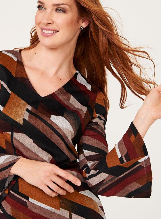 Haut tricoté à motif géométrique et manches cloche, Brun, hi-res