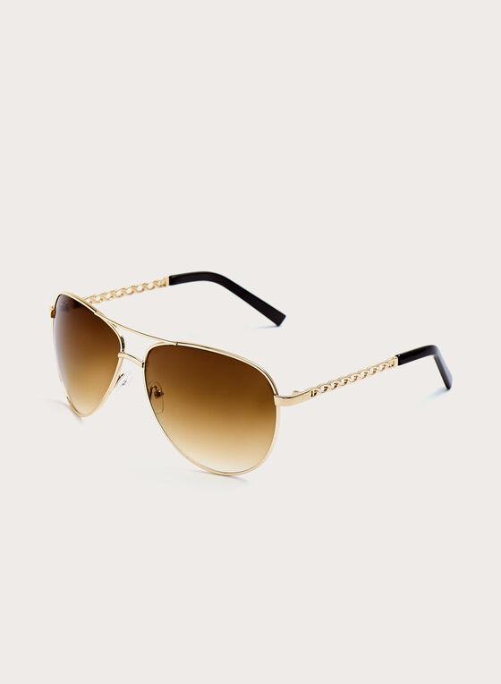 Chain Link Metal Aviator Sunglasses, Gold, hi-res