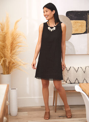 Charlie B - Bow Detail Linen Dress, Black,  spring summer 2021, dresses, linen, crew neck, scoop neck, no sleeves, tie, bow, lace,