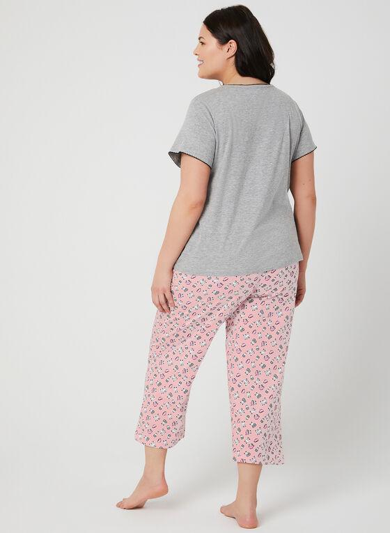 René Rofé - Pyjama 2 pièces à motif chat et café, Rose, hi-res