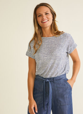 Stripe Print Linen-Like Tee, Blue,  t-shirt, scoop neck, short sleeves, striped, sheer, linen, spring summer 2020