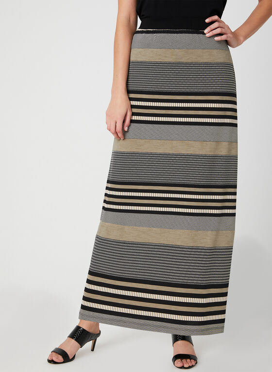 Stripe Print Maxi Skirt, Black, hi-res