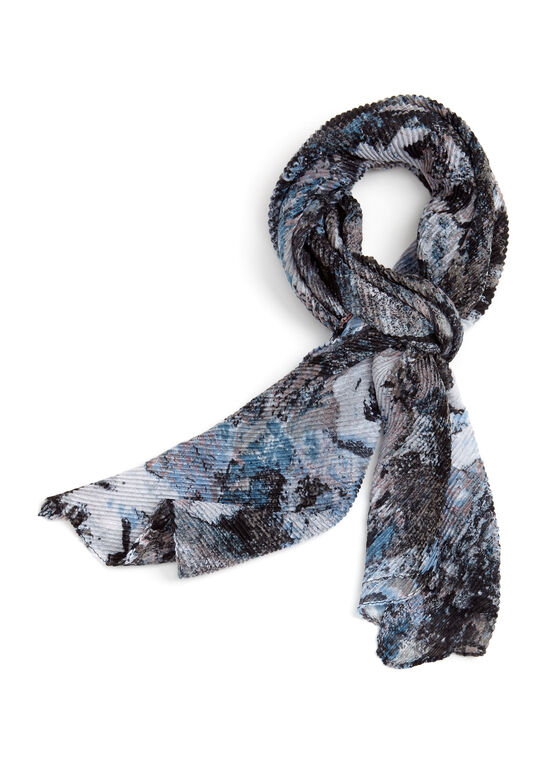 Abstract Print Oblong Scarf, Grey, hi-res