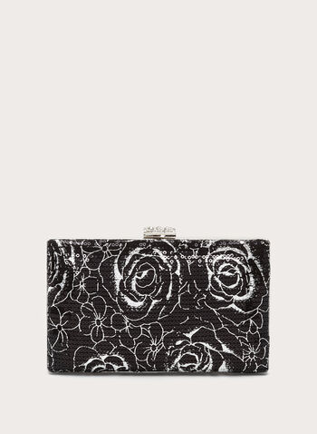 Floral Print Sequin Box Clutch, Black, hi-res