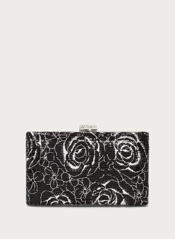 Minaudière satin et sequins motif fleurs, Noir, hi-res