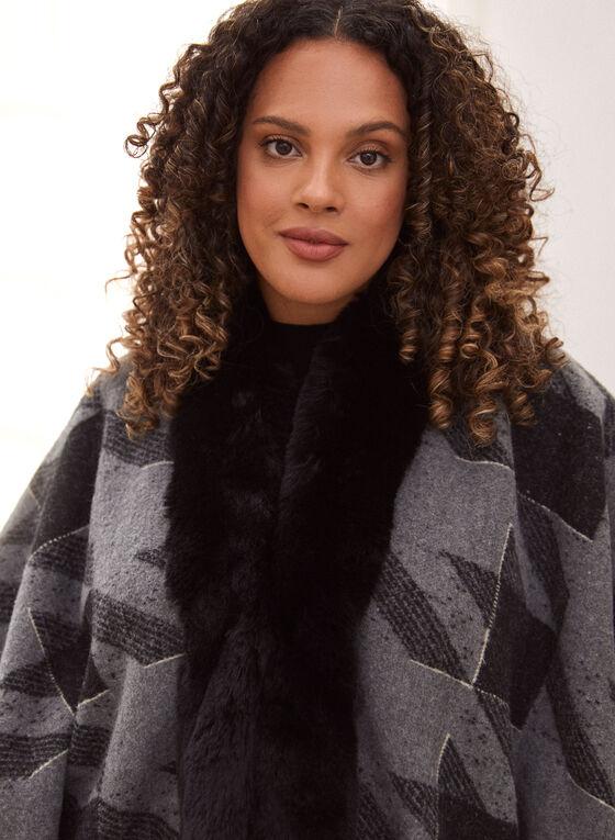 Faux Fur Trim Houndstooth Poncho, Grey