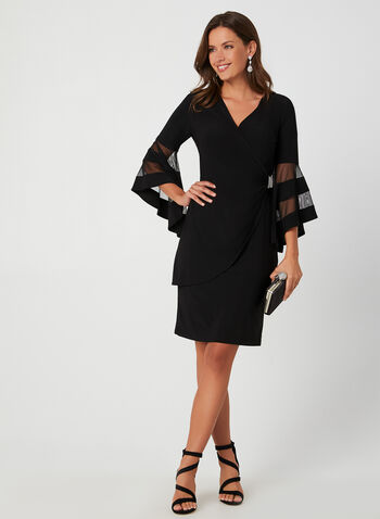 Bell Sleeve Cocktail Dress, Black, hi-res,  fall winter 2019, jersey, bell sleeve, 3/4 sleeves, long sleeves, crystal detail, cocktail dress