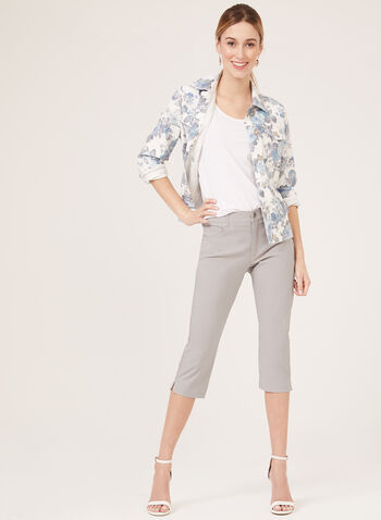 Simon Chang - Veste fleurie en denim, Blanc, hi-res