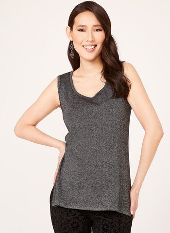 Sleeveless Scoop Neck Top, Black, hi-res