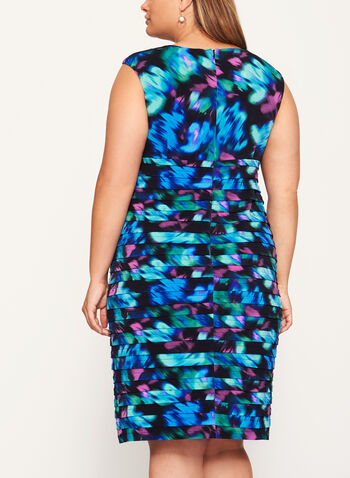 Abstract Print Shutter Tuck Dress, Blue, hi-res