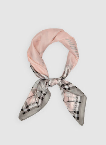 Plaid Print Scarf, Pink, hi-res