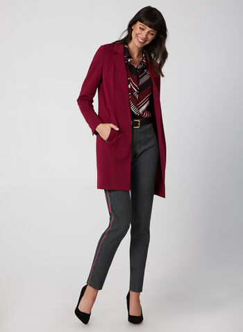 Long Notched Lapel Collar Blazer, Red,  long jacket, edge-to-edge front, long blazer