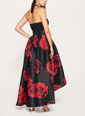 Rose Print Halter Neck Dress, Black, hi-res