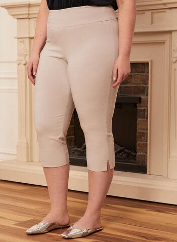 Bengaline Pull-On Capri Pants, Grey,  capris, pull-on, bengaline, slim leg, spring summer 2020